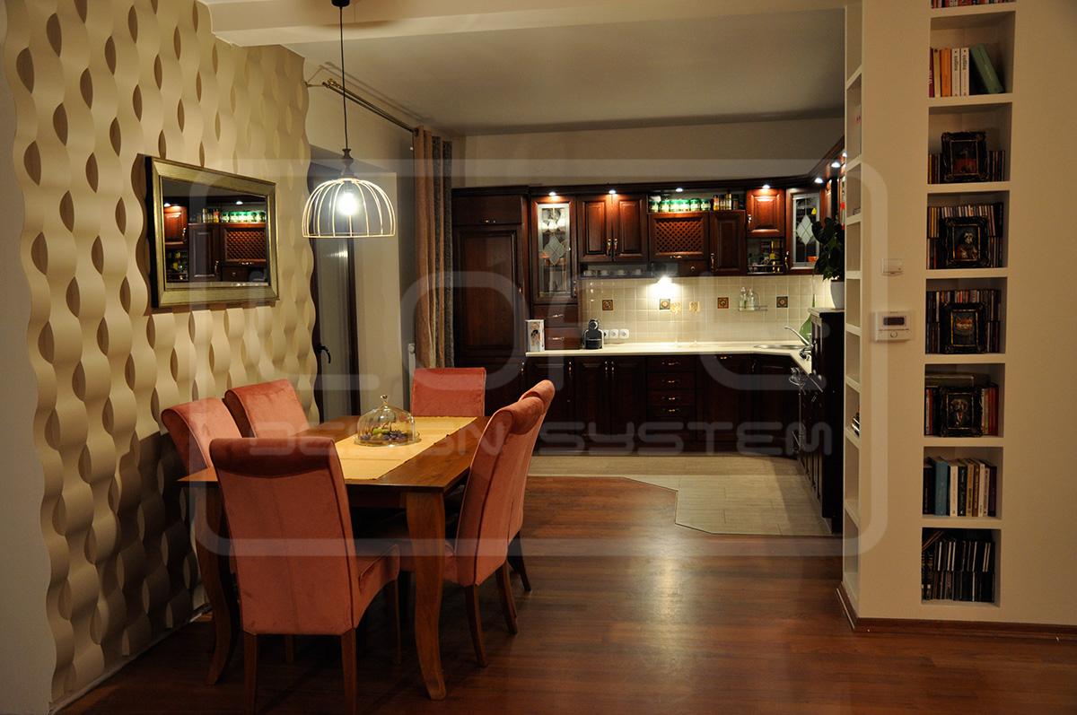 Kuchnia jadalnia salon wnętrze z panelami dekoracyjnymi 3D