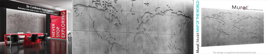 mural concrete map of the world panele dekoracujne